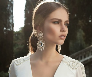 white, earrings, and wedding image