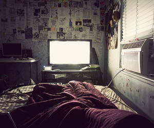 bed, bedroom, and television image