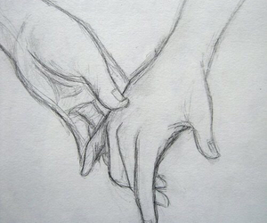 love, hands, and drawing image