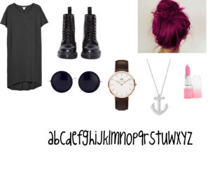 black, hair, and Polyvore image