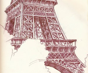 drawing, paris, and eiffel tower image