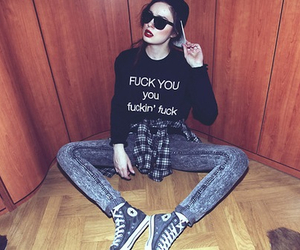 badass, clothes, and peace image