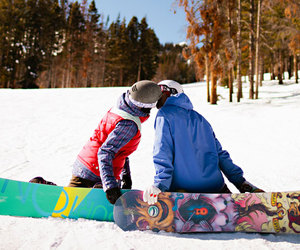 boarding, couple, and snowboard image