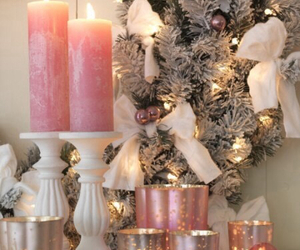 christmas, pink, and candle image