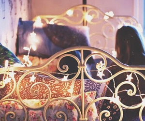 bed, lights, and soft image