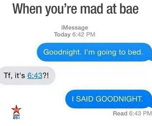 bae, goodnight, and mad image