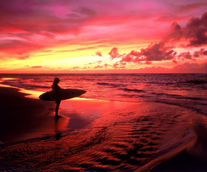 surf, sunset, and beach image