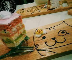 cafe, cake, and cat image