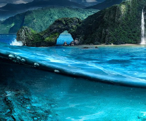 beach, beautiful, and blue image