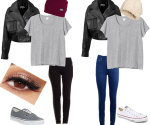 beanie, converse, and leather jacket image