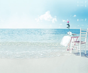 beach, chair, and flower image
