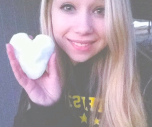 blonde hair, heart, and snow image