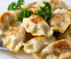 food, dinner, and dumplings image