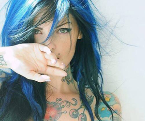 tattoo, beautiful, and blue hair image