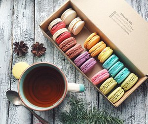 macarons, food, and pastel image