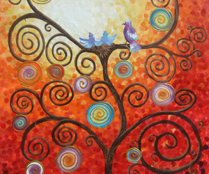 love birds, tree of love, and large wall art image