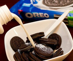 food, oreo, and milk image