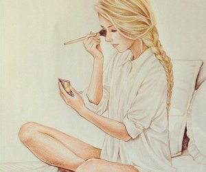 girl, drawing, and makeup image