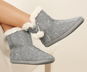 gray, slipper, and winter image