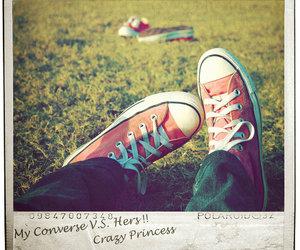 converse, grass, and polaroid image