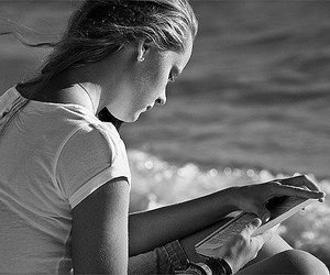 beach, book, and girls image