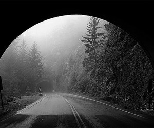 black and white and tunnel image