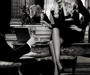 classy, black and white, and couple image