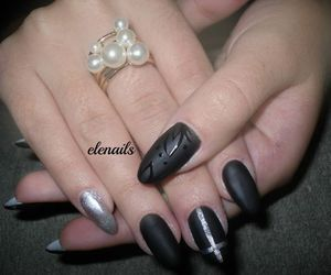 black, matte, and nails image