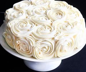 cake, rose, and white image