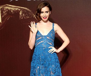 blue, fashion, and lily collins image