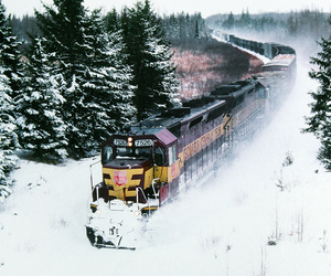 snow, train, and trees image