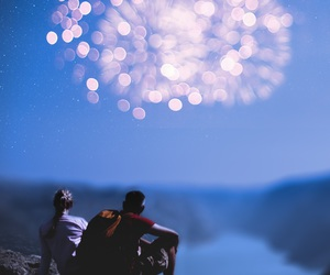 fireworks, couple, and night image