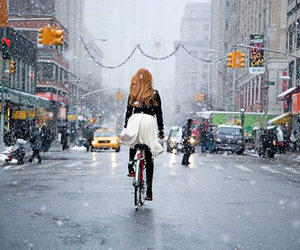 girl, snow, and bike image