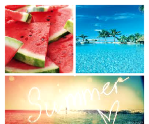 <3, vacation, and watermelon image