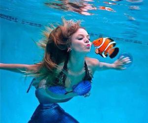 mermaid, fish, and sea image