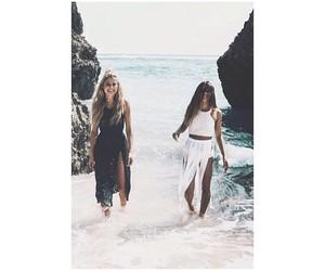 girls and beach image