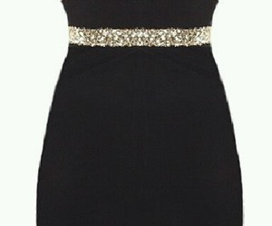 black dress, party outfit, and gold dress image