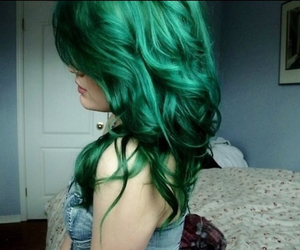 colored hair, dyed hair, and green image