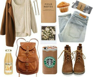 outfit, clothes, and starbucks image