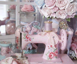 vintage, pink, and sewing image
