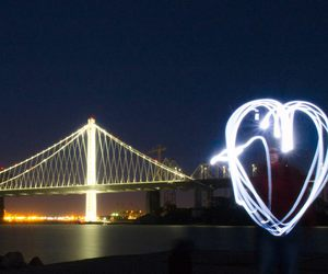 heart, light, and night image