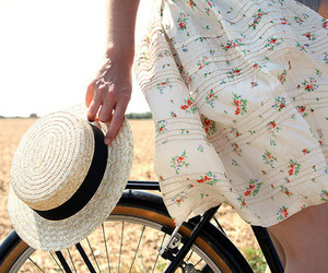 hat, bike, and vintage image