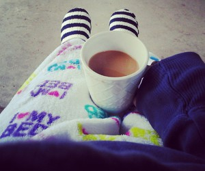 coffee, slippers, and sweatshirt image