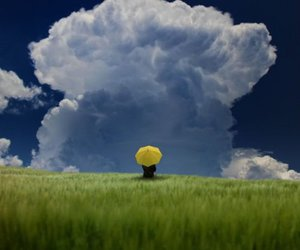 clouds, yellow, and umbrella image
