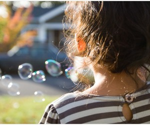 bubbles, girl, and little girl image