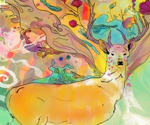 art, colors, and deer image