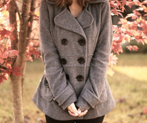 girl, coat, and autumn image
