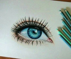 eye, blue, and drawing image