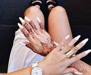 nails, henna, and white image