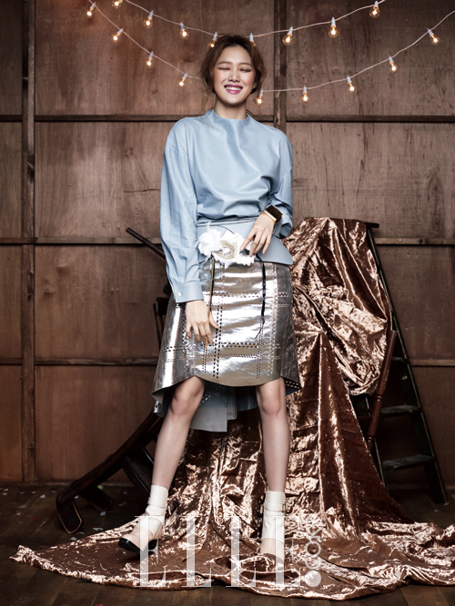 Elle, metallic skirt, and lee sung kyung image